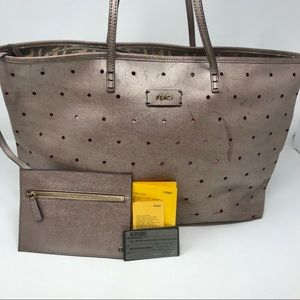 Fendi Large Roll Tote Perforated Leather w/ Pouch